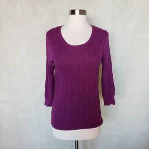 🌼{ h&m } eggplant purple cable knit sweater
